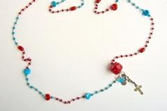 rosario con coralli, turchese e ciondoli