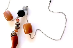Viola - pietre dure con ambra e cornetto fatto a mano - C72M