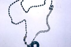 Madame Giada e Madame Verdurine - rosario con quarzi fumè, giada e moneta cinese T'ai Kung XI sec.a.c - C73L